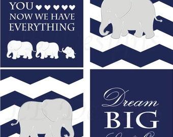 Navy Blue Elephant Nursery Decor, Boy Jungle Nursery Art, Gift for New Baby, Navy Blue and White Nursery, Playroom Decor - 8x10s