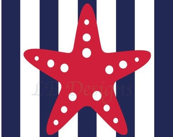 Red and Navy Blue Nursery, Nautical Nursery Print, Starfish Nursery Print, Nautical Decor - 8x10