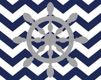 Gray and Navy Blue Nursery, Ship Wheel Nursery Decor, Nautical Nursery Print, Whale Nursery Print, Nautical Bedroom Decor - 8x10