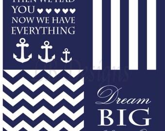 Navy Blue and White Nursery, Nautical Nursery Prints, Nautical Nursery Decor, Whale Nursery Art - 8x10s
