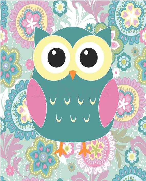 Girly Bedroom Items: Girl Woodland Nursery Print Girl Owl Nursery Decor Girl