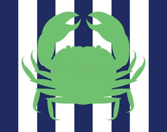 Navy Blue and Green Nursery, Nautical Nursery Print, Crab Nursery Decor 8x10