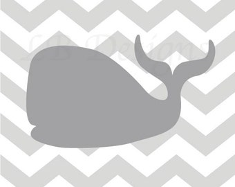 Whale Nursery Art, Gray and White Nursery, Nautical Nursery Decor, Whale Nursery Decor, Nautical Nursery Art - 8x10