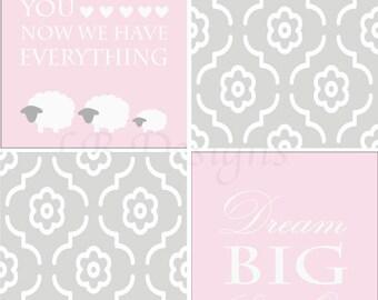 Gray and Pink Nursery, Lamb Nursery Print, Sheep Nursery Decor - 8x10s