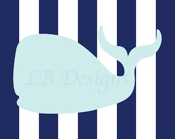 Nautical Nursery Art, Navy Blue and Baby Blue Nursery, Whale Nursery Print, Nautical Nursery Decor - 8x10