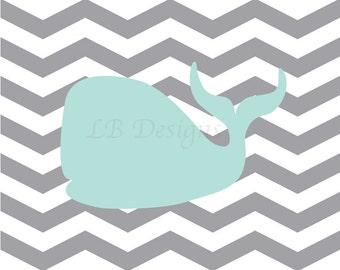 Nautical Nursery Print, Whale Nursery Decor, Gray and Aqua Nursery, Nautical Kids Decor, Boy Nautical Bedroom - 8x10