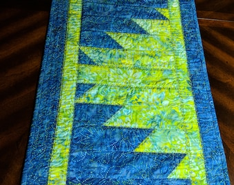 """Handmade Modern Quilted Table Runner Blue and Green  Peaks and Valleys 15"""" x 46"""""""