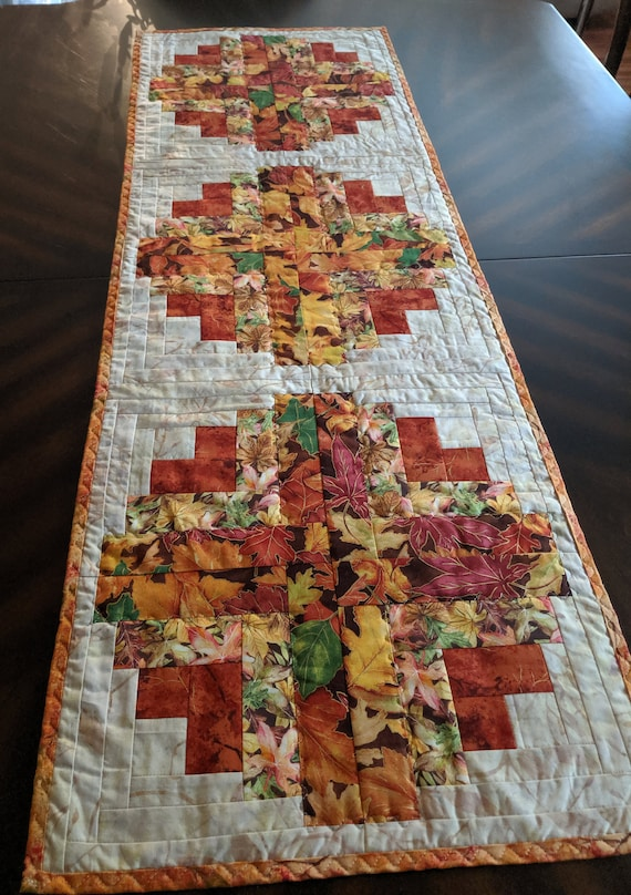 Handmade Curved Log Cabin Quilted Table Runner Orange Green Etsy
