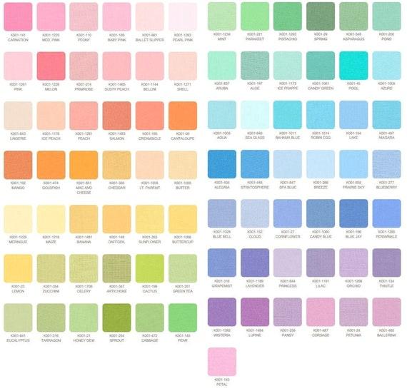 "Kona Cotton Solids Robert Kaufman Pastel Charm Square; 85 5/"" Squares"