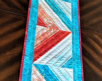 """Handmade Modern Quilted Table Runner Caribbean Nights  12""""x 43"""""""