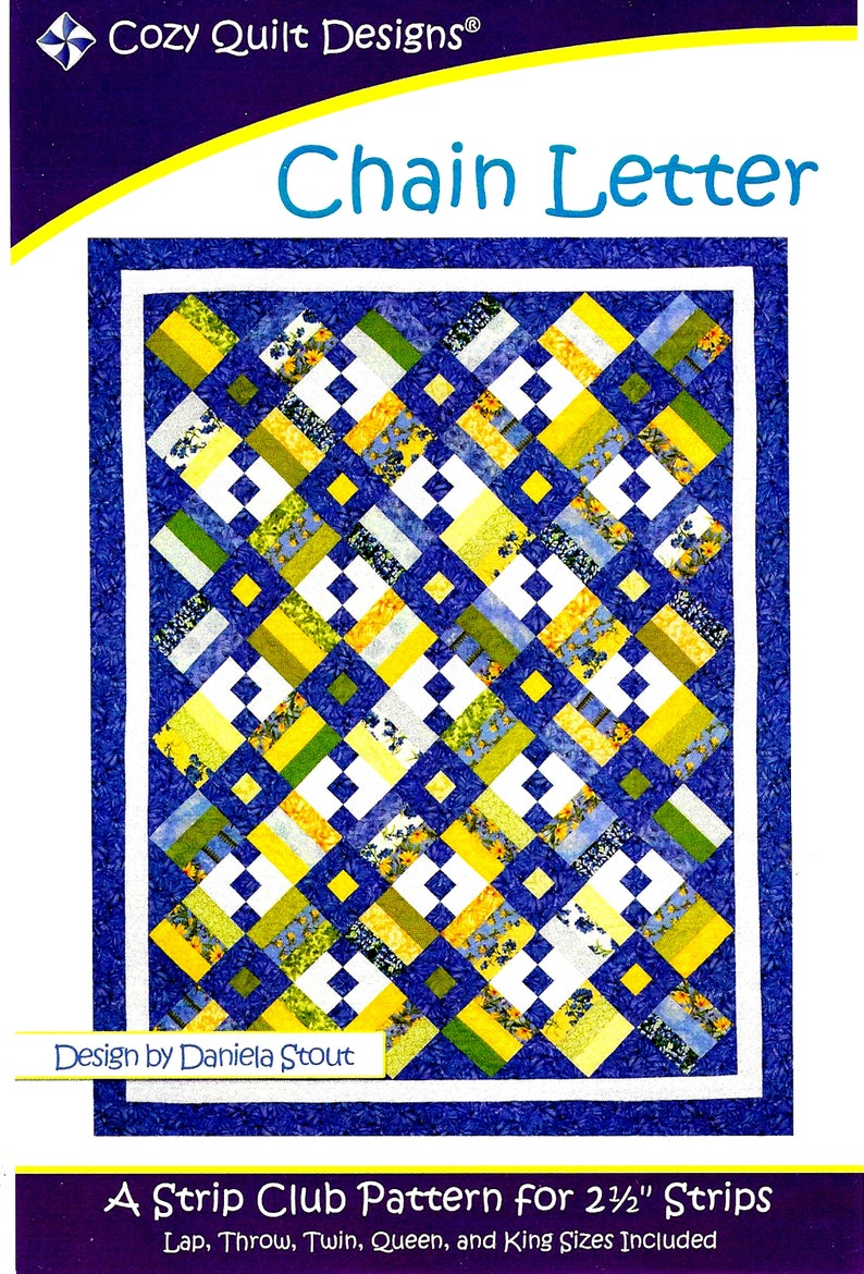 Pattern~Meditation~2 1//2in Strips Cozy Quilt Design-4 Sizes