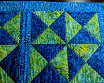 """Handmade Modern Quilted Table Runner Blue and Green Windmills 21""""x 39"""""""