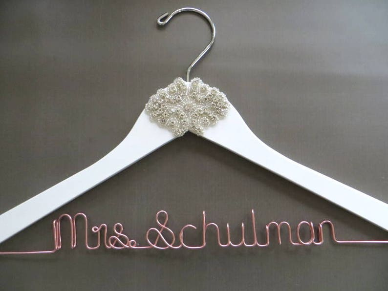 Bride Gift ROSE GOLD Rhinestone Wedding Hanger White Crystal Bride Hanger Mrs Hanger Shower Gift Personalized Bridal Hanger