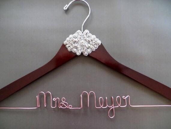 Copper Hanger Engagement Gift Bridal Shower Gift Personalized Bride Gift Crystal Bridal Hanger Sparkly Wedding Hanger Gift for Bride
