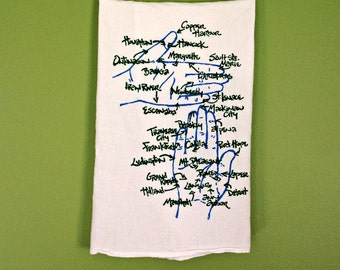 Michigan Hands and Cities Screen Print on Cotton Flour Sack Towel