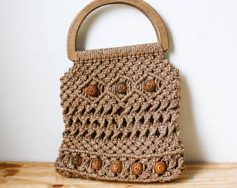 1960s 1970s Crochet Purse Woven Beaded Wooden Bohemian Boho Hippie Brown Kitsch Folk