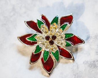 1960s 70s Vintage Christmas Holiday Poinsettia Flower Floral Brooch Pin Electroplated Enamel Rhinestone Festive