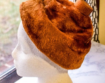 1950s 1960s Slouch Sienna Tan Orange Faux Fur Hat Tam R017L