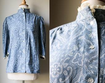 1960s 70s Victorian Edwardian Inspired Blouse Shirt Blue Floral Hippie Retro Top Vintage Lace Mod