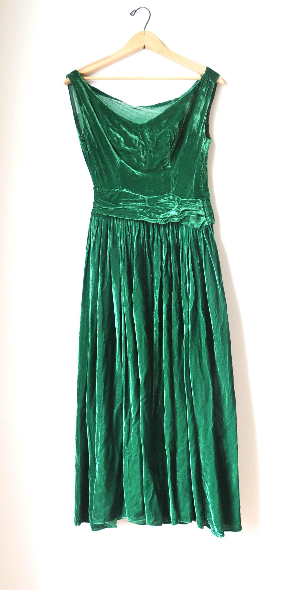 1940s 1950s Green Velvet Gown Dress Formal Glam Hollywood Screen ...