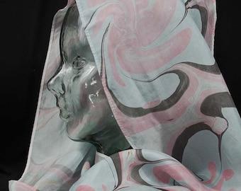 Silk Marbled Scarf- Pink, Blue, Black