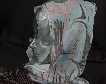 Marbled Silk Scarf - Light Blue