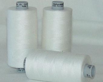 Sewing Thread WHITE 1,094 yd Polyester Gutermann Mara 100 ONE (1) Spool Col. 800