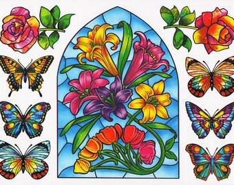 99 Nature Window Clings Stickers