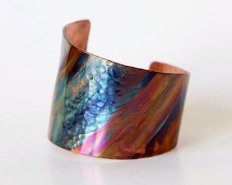 Asymmetrical Cuff Bracelet - Oxidized Copper Cuff - Rainbow Cuff - Organic Patina Cuff - Unique Statement Cuff Bracelet - Rustic Jewelry