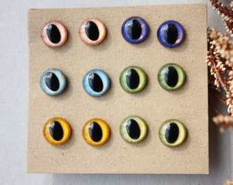 6 Pairs, 15mm Hand Pianted Slit Pupil Eyes, for Amigurumi Toys, Handmade Dolls, Stuffed Animals