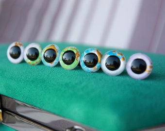 12mm Safety Eyes, 7 unique pairs, Pearl Effect,  Hand Painted Doll and Toy Eyes for Amigurumi, Plushes, Handmade Toys