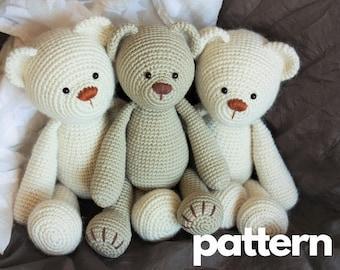 Crochet Bear PATTERN - Classic Amigurumi Teddy Bear Toy Tutorial - Lucas the Teddy - Video Tutorials - Printable PDF - In English