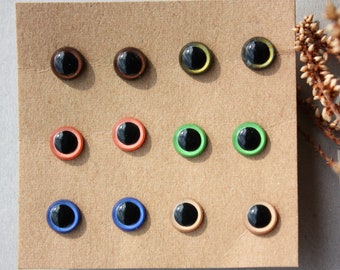 6 Pairs 10mm Hand Painted Safety Eyes, for Amigurumi Toys, Handmade Dolls and Toys