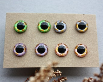 12mm, 4 Pairs, Hand Painted Safety Eyes,  for Dolls, for Amigurumi Toys, Stuffed Animals, Knitted toys