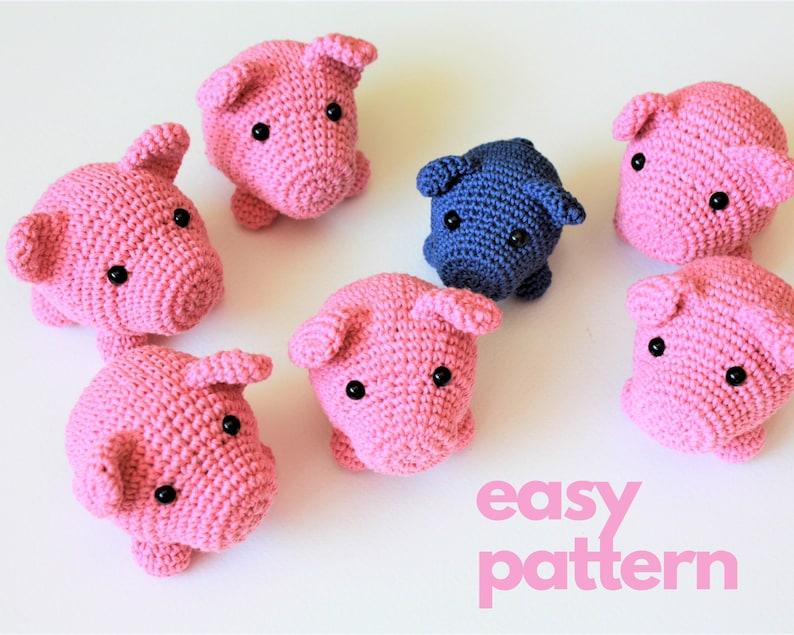 Easy Amigurumi Pig PATTERN  Small Crochet Piglet Piggy Toy image 0