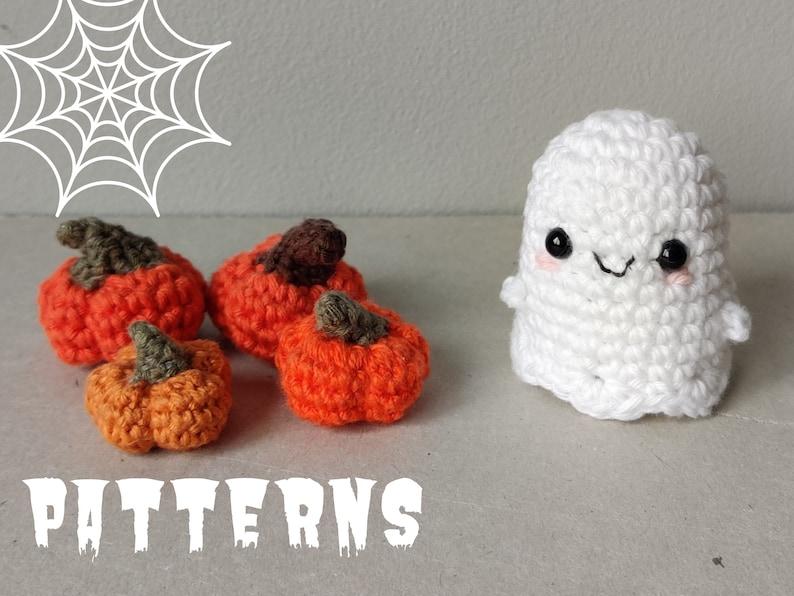 Cute Halloween Patterns  Crochet Amigurumi Ghost and Mini image 1