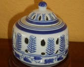 Diffuser Porcelain CHINA CANDLE Holder Hand Painted Blue White
