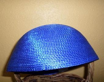 9e5f92cf36445 Kentucky Derby Fasincator Just Add Feathers  ROYAL BLUE STRAW Spring Summer  Cap
