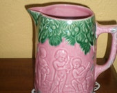 Majolica Pink Green Pitcher Portugal BORDALLO PINNHEIRO HANDPAINTED