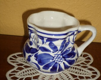 Mexico, Blue White/Hand Painted/VINTAGE SMALL PITCHER/Creamer