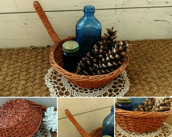 Antique Basket for Church Collection - Vintage Religious Wicker Basket + Creative Storage, Basket Collector, Home Decor, Vintage Religious