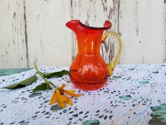 Amberina Glass Vase Vintage Orange Red Flower Vase Or Urn Etsy