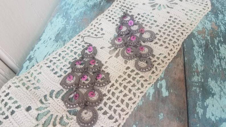 Vintage 90/'s Fashion Gunmetal Gray Purple Sequin Waterfall Earrings Long Statement Earrings Big Silver Gypsy Dangle Drop Earrings