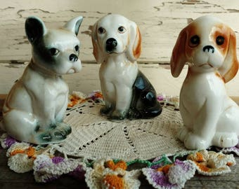 Retro Puppy Statue Set of 3 - Vintage Dog Collection + Gift For Dog Collectors, Porcelain Art, Dog Lover Decor, Cute Dogs or Canine Statues
