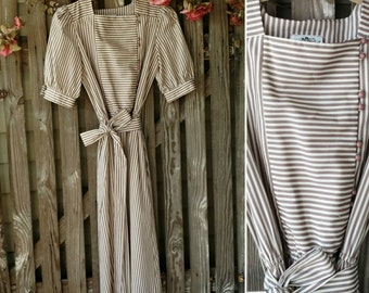 "Retro 80's Dress in Taupe + White Striped Dress - Vintage Preppy Dress, Knee Length Lightweight Dress By ""Salz"" Size 10, Trending Fashion"