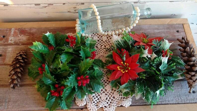 Christmas Candle Rings.Vintage Christmas Candle Rings Vintage Poinsettia Candle Rings Holiday Mantel Decor Christmas Tablescape Decor Tree Ornaments Vintage