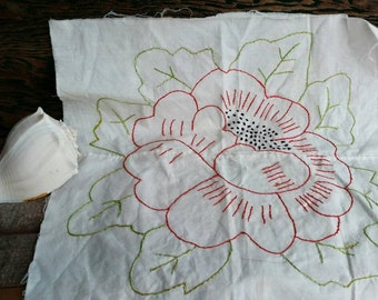 Vintage Embroidered Quilting Square of a Red Flower - Retro Assembled Quilt Square,  Pillow Square, Making + Craft Supply, Piecing A Quilt