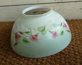 Vintage White Milkglasss Celing Light Shade With Hand Painted Pink Flowers - Antique Half-Globe Lighting Accessory, Pink Morning Glory Art