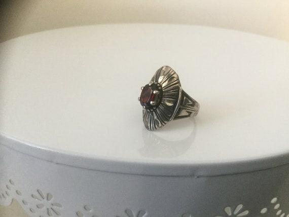 Ring,Vintage Garnet Ring,Sterling Silver Garnet Ri