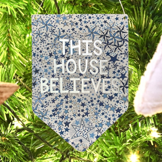 This House Believes Liberty Print Silver Metallic Banner